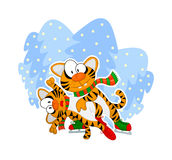 Figure skating tigers. New Year  illustration: two tigers are figure skating in a forest Royalty Free Stock Photography