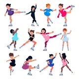 Figure skating vector girl character skates on competition and professional girlie skater illustration set of kids. Athlete training or dancing on ice isolated Stock Photography