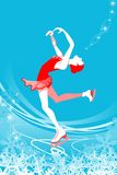 Figure Skating woman -blue color. Figure Skating woman on blue color background Stock Images