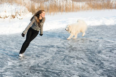 Figure skating woman with dog Samoyed Stock Photos