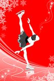 Figure Skating woman -red color. Figure Skating woman on red color background Stock Image