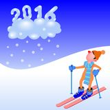 Figure skiing 2016. Little man skiing cloud 2016 Stock Images