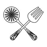 Figure skimmer with big fork tools. Illustration Stock Photography