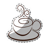 Figure small coffe cup with steam and saucer. Figure small cup with steam and saucer,  illustration Royalty Free Stock Image