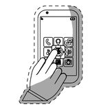 Figure smartphone with options in hand image Stock Photography