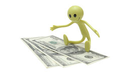 Figure of Smiley with dollars. Figure of Smiley with dollar bills royalty free stock photo