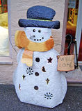Figure of snowman in front of a Christmas gifts shop, Germany Stock Image
