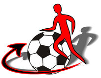 Figure a soccer player with a soccer ball (symboli. Zing earth) and an arrow indicating the circular motion Royalty Free Stock Images