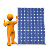 Figure with solar panel. Three dimensional illustration of figure with thumb up next to blue photovoltaic solar panel; isolated on white background Royalty Free Stock Images