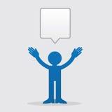 Figure Speech Bubble. Silhouette figure talking with speech bubble Stock Photo