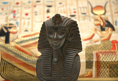 Figure of sphynx. And background with elements of egyptian ancient history Stock Photo