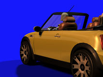 Figure in sporty car. Render of a figurine in a convertible sporty car Stock Photo