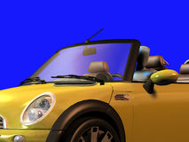 Figure in sporty car. Render of a figurine in a convertible sporty car front view Royalty Free Stock Image
