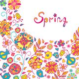 Figure spring flowers, colorful background. Vector illustration  with three flowers Stock Photo