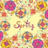 Figure spring flowers, colorful background. Vector illustration  with three flowers Royalty Free Stock Photos