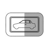Figure square with car side inside. Illustration design Royalty Free Stock Images
