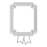 Figure square emblem with ribbon icon Royalty Free Stock Image