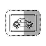 Figure square with sport car side inside. Illustration design Stock Image