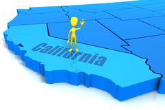 Figure Standing on California. Stick figure waving and standing on state of California Royalty Free Stock Images