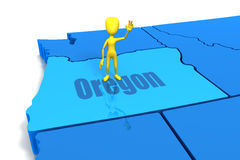 Figure Standing on Oregon. Figure waving and standing on state of Oregon Royalty Free Stock Images