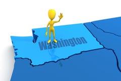 Figure Standing on Washington. Stick figure standing on state of Washington Stock Photos
