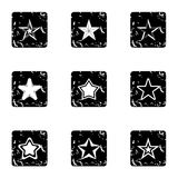 Figure star icons set, grunge style Stock Photography