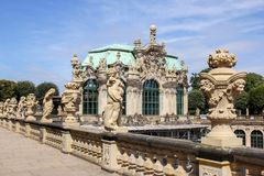 Figure and statues at baroque Zwinger palace Stock Photography