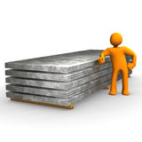 Figure with steel pallets. 3d illustration of figure stood next to pallet of steel, isolated on white background Royalty Free Stock Photography