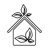 Figure sticker eco houese with leaves icon. Illustraction design Royalty Free Stock Photo