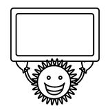 Figure sticker happy sun with blue board in the hands. Illustraction design Royalty Free Stock Photos