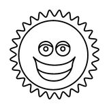 Figure sticker happy sun icon. Illustraction design Royalty Free Stock Photos