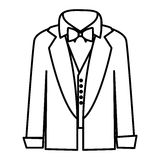 Figure sticker shirt with bow tie and coat icon Royalty Free Stock Images