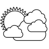 Figure sticker sun with clouds icon. Illustraction design image Stock Photos