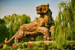 Beijing, China 07.06.2018 The figure of the giant stone tiger royalty free stock photos