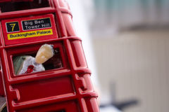 Figure stuck in a London Bus Stock Photo