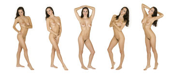 Beautiful Caucasian woman posing nude on white background Stock Images