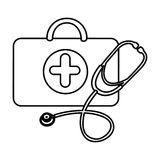 Figure suitcase health with stethoscope icon. Illustraction design Royalty Free Stock Photography