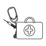 Figure suitcase health with stethoscope and syringe. Illustraction design Royalty Free Stock Photography