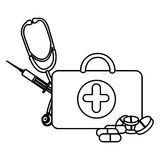 Figure suitcase health with stethoscope, syringe and treatment. Illustraction Royalty Free Stock Photography