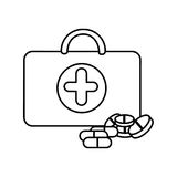 Figure suitcase health with treatment icon. Illustraction design Stock Image