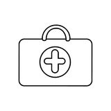 Figure suitcase healthcare with hospital symbol. Figure suitcase healthcare with blue hospital symbol,  illustraction design Royalty Free Stock Photo
