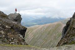 A figure on the summit of Ben Nevis stock photo