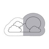 Figure sun with clouds icon Royalty Free Stock Images