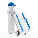 Figure supplier push hand truck. With gifts Stock Image