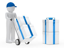 Figure supplier push hand truck. With gifts Stock Photo