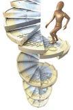 Figure sur les euro escaliers 3 de pièce de monnaie Image stock
