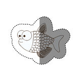 Figure surprised fish scalescartoon icon Royalty Free Stock Photo