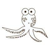 Figure surprised octopus caartoon icon. Illustration design Royalty Free Stock Photo