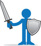 Figure with sword and shield Royalty Free Stock Photo