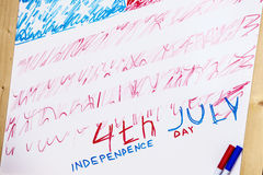 Figure symbol of the independence day of America on the drawing Royalty Free Stock Images